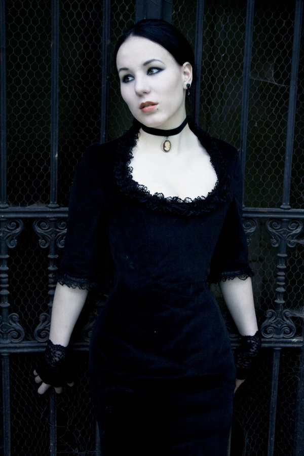 black, fingerless, and necklace image