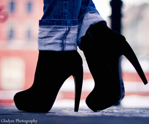 black boots, black heels, and black shoes image