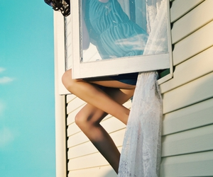 girl, window, and escape image