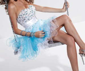blue, sparkly, and strapless image