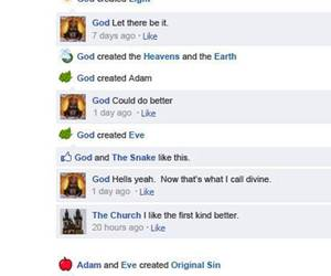 god, facebook, and funny image