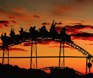 sunset, fun, and Roller Coaster image