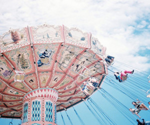 pink, sky, and carousel image