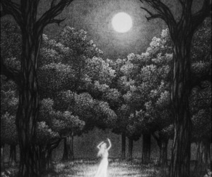 moon, art, and forest image