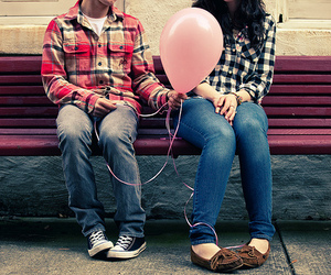 balloon, couple, and cute image