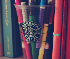 starbucks, books, and colors image