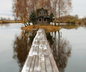 house, lake, and tree image