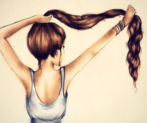 brunette, drawing, and hair image