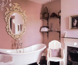 pink, bathroom, and vintage image
