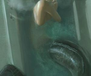 mermaid, smoke, and art image