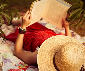 book, hat, and reading image