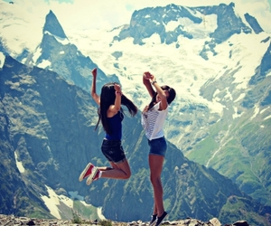 brunettes, mountains, and feel good image