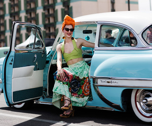 car, fashion, and woman image