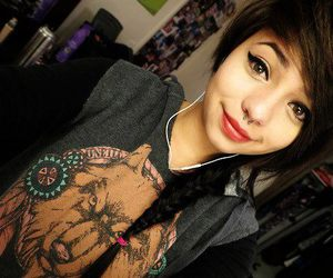 girl, piercing, and septum image