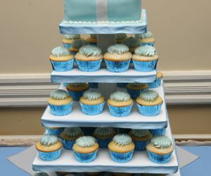 blue, bow, and cake image