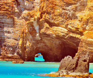 rock, ocean, and beach image