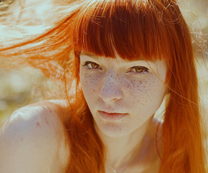 redhead, girl, and freckles image