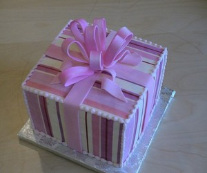 cake, presente, and ribbon image