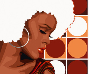 Afro, artwork, and woman image