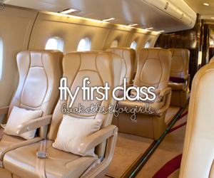 first class, plane, and bucket list image