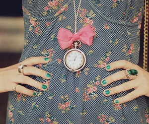 clock, dress, and necklace image
