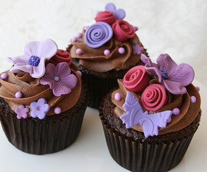 cupcake, flowers, and butterfly image