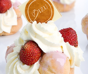 pastry, whipped cream, and strawberry image