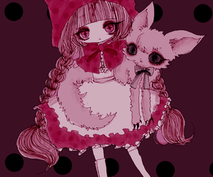 anime, cat, and red riding hood image