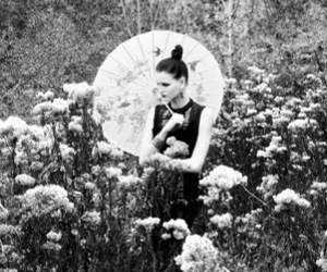 black and white, field, and girl image