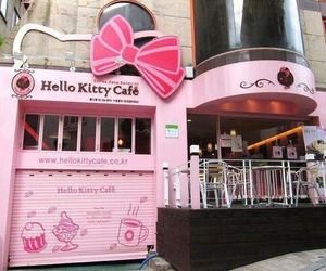 hello kitty, pink, and cafe image