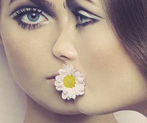 flower, eyes, and model image