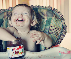 child, nutella, and chocolate image
