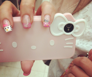 glitter, nails, and hello kitty image