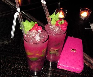 pink, drink, and strawberry image