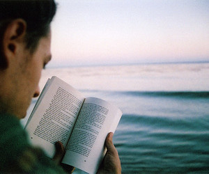 book, boy, and sea image