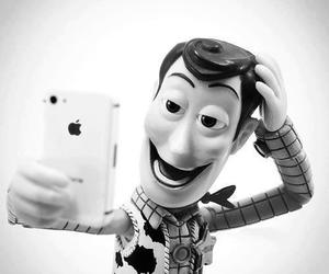 black & white, toy story, and woody image