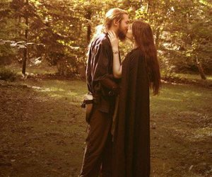 couple, forest, and long hair image