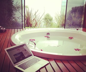 bath, relax, and laptop image