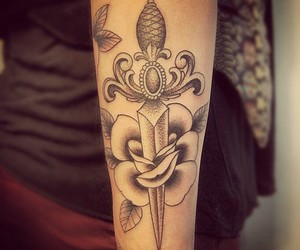 espada, tattoo, and flor image