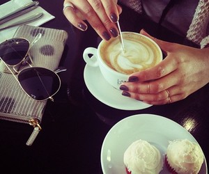 coffee, cupcake, and sunglasses image