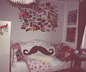 room, mustache, and bedroom image