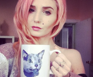 audrey kitching, cat, and cup image