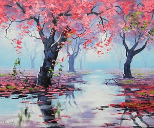 trees, paitning, and water image