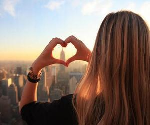 girl, heart, and city image