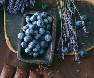 chocolate, blueberry, and food image
