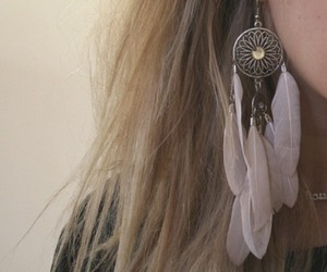 earrings, fashion, and feathers image