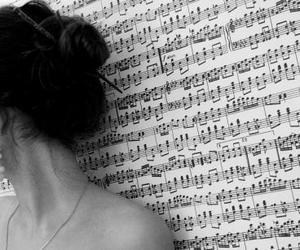 music, girl, and black and white image
