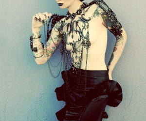 girl, tattoo, and gothic image