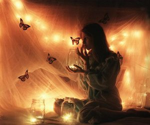 light, butterfly, and girl image