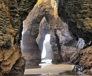 beach, spain, and rock image